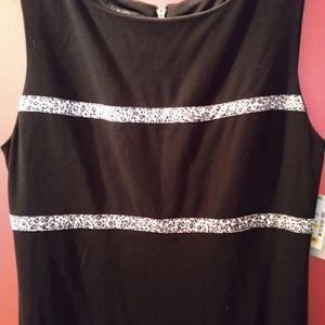 Black dress with grey leopard stripes